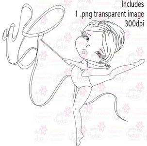 Gymnast/Twirling girl/Acrobat - Digital Stamp Download