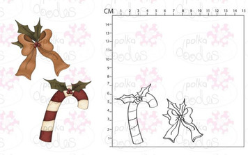 Rubber Stamp Set - Prim Candy Cane & Bow