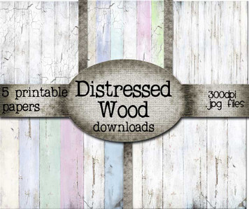 Distressed Wood Printable papers - Digital Craft Stamp download