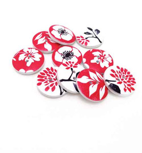 Black and Red Floral Button Embellishments (10)