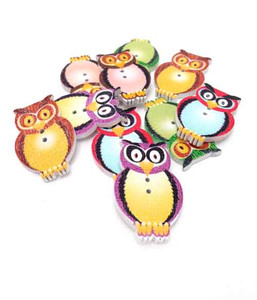 Owl Wooden Button Embellishments (10)