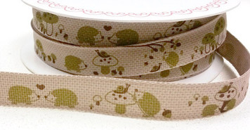 Forest Friends - Hedgehog ribbon x 1 m