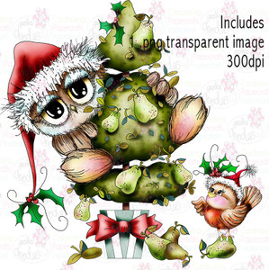 Owl in a Pear Tree - Twiggy & Toots - Digital Craft Stamp Download