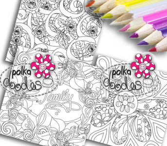 Adult Colouring pages bundle 4 - Downloadable Adult printable Colouring Book Pages