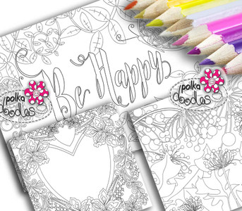 Adult Colouring pages bundle 15 - Downloadable Adult printable Colouring Book Pages
