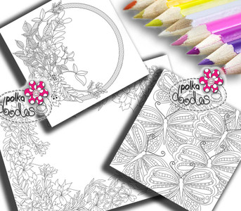 Adult Colouring pages bundle 18 - Downloadable Adult printable Colouring Book Pages