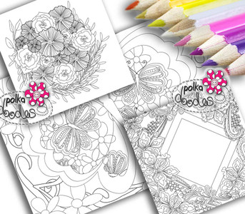 Adult Colouring pages bundle 19 - Downloadable Adult printable Colouring Book Pages