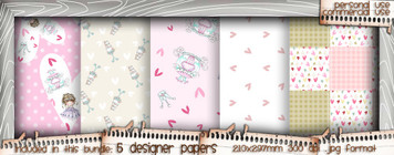 Love/Romance Love & Kisses paper bundle 3 - download printable digital stamp