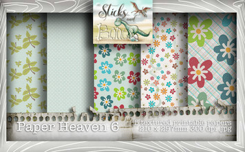 Sticks & Bones - Textured Flower Papers 6 (5 papers A4) - Digital Stamp CRAFT Download