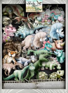 Sticks & Bones - Dinosaur Coloured image Bundle - Digital Stamp CRAFT Download