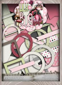 Lily Bug Love frames bundle kit (33 elements) - Digital Stamp CRAFT Download