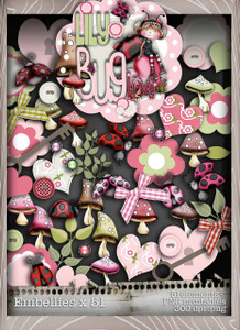 Lily Bug Love Embellies bundle kit (51 elements) - Digital Stamp CRAFT Download
