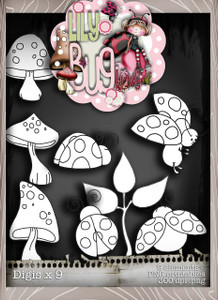 Lily Bug Love digis bundle kit (10 elements) - Digital Stamp CRAFT Download