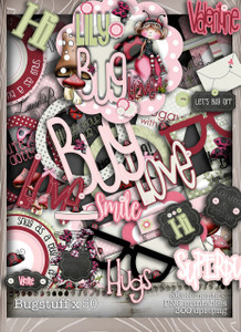 Lily Bug Love Stuff bundle kit (50 elements) - Digital Stamp CRAFT Download