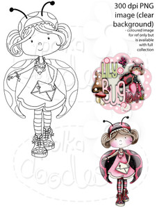 Lily Bug Love Sending Love   - Digital Stamp CRAFT Download