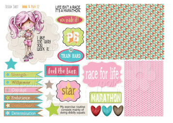 Work & Play 12 Design Sheet - runner/workout/keep fit/race for life - Digital Stamp CRAFT Download