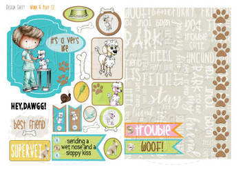 Work & Play 12 Design Sheet - Vet/Dog groomer - Digital Stamp CRAFT Download