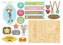Male Runner/Workout/Fitness/Race for Life bundle kit - Printable Crafting Digital Stamp Craft Scrapbooking Download