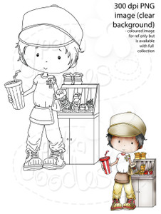 Fast Food/Waiter/burger Digital Stamp - Digital Stamp Craft Scrapbooking Download