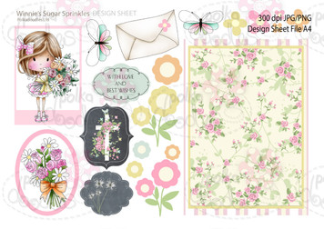 Winnie Sugar Sprinkles Springtime DESIGN SHEET 2 - Printable Crafting Digital Stamp Craft Scrapbooking Download