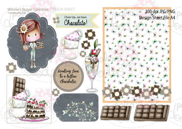 Winnie Sugar Sprinkles Springtime DESIGN SHEET 4 - Printable Crafting Digital Stamp Craft Scrapbooking Download