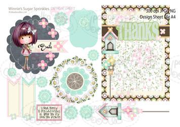 Winnie Sugar Sprinkles Springtime DESIGN SHEET 9 - Printable Crafting Digital Stamp Craft Scrapbooking Download