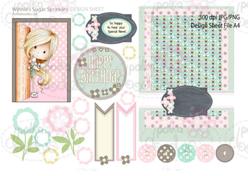 Winnie Sugar Sprinkles Springtime DESIGN SHEET 10 - Printable Crafting Digital Stamp Craft Scrapbooking Download