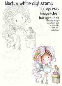 Sigh! Shoes! Winnie Fruit Punch Printable Digital Craft Stamp Download, digiscrap
