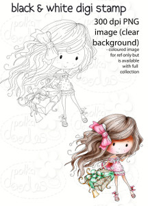A Gift - Winnie Fruit Punch Printable Digital Craft Stamp Download, digiscrap