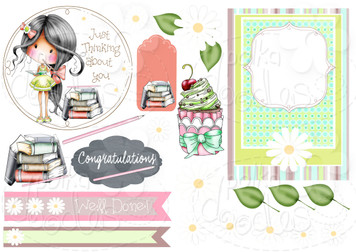 Thinking of You - Winnie Fruit Punch Printable Digital Craft Stamp Download, digiscrap