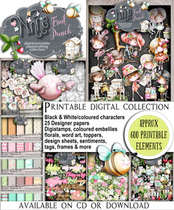 Winnie Fruit Punch Big bundle - Printable Digital Craft Stamp Download, digiscrap