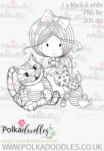 Winnie Wonderland Cheshire Cat - Printable Digital stamp download