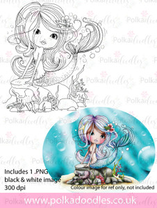 Meribelle Swishy Tail - digital craft stamp download