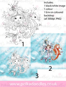Meribelle Seahorse 3-for-2 digital craft stamp download