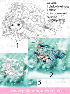 Meribelle Swimming around 3-for-2 digital craft stamp download