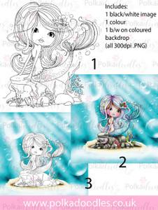 Meribelle Swishy Tail 3-for-2 digital craft stamp download