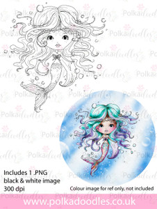 Meribelle Mermaid - digital craft stamp download