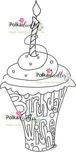Birthday Wishes Cupcake Free - Digital Stamp Download