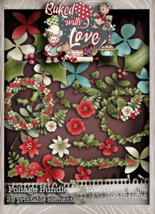Baked With Love - Foliage digital craft paper download