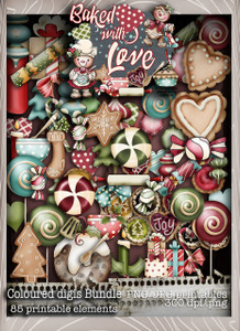 Baked With Love - Embellies digital craft paper download