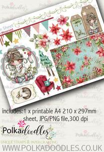 Winnie Winterland - Design Sheet 9 digital craft papers download