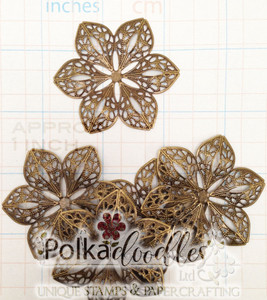 5 Bronze (Design 1) Filigree Flower Wraps/Embellishments