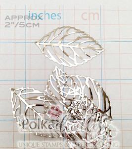 "10 LARGE Silver Tone Leaf embellishments 2""/5cm"