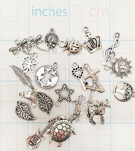 Mixed Silver Tone Pendants Charms