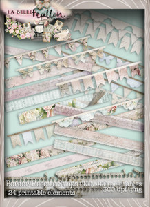 Belle Papillon Bunting, Borders, Rosettes - Download Printables