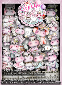 Helga Hippo 14 Digi Stamps download bundle