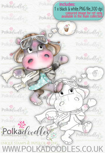 Helga Hippo Follow Your Dreams - download digi stamp