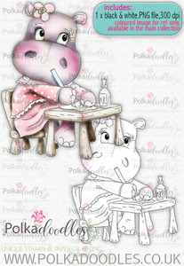 Helga Hippo Working Hard - download digi stamp