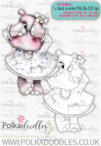 Helga Hippo Peek-a-Boo - download digi stamp