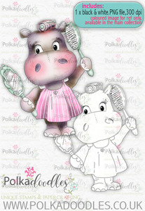 Helga Hippo Beauty Day- download digi stamp